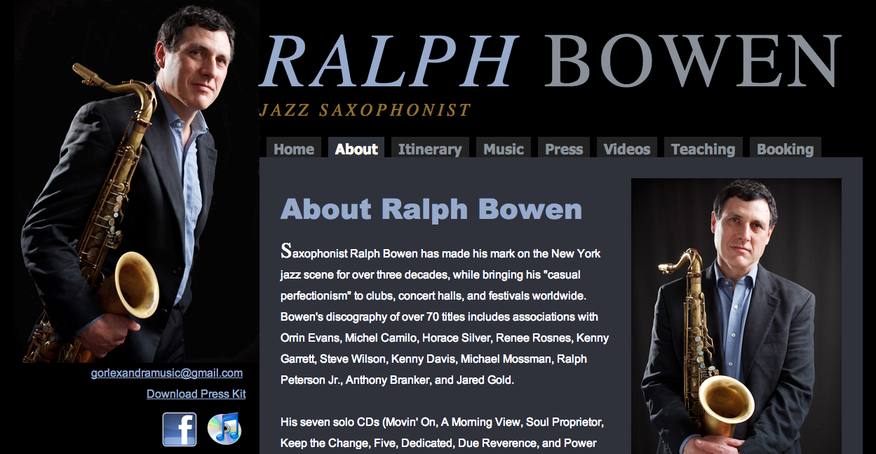 Ralph Bowen website by Ben Azzara