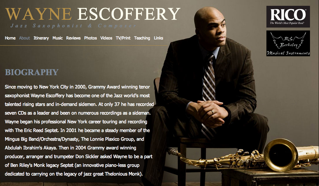 Wayne Escoffery website by Ben Azzara